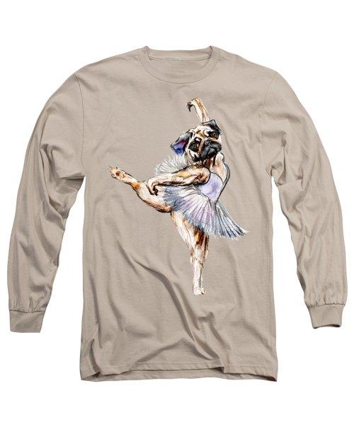 Pug Ballerina Dog Long Sleeve T-Shirt by Notsniw Art