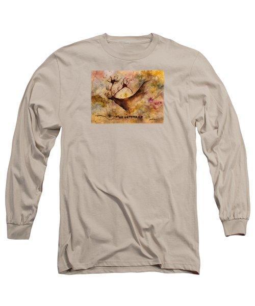 Red Deer Long Sleeve T-Shirt by Hailey E Herrera