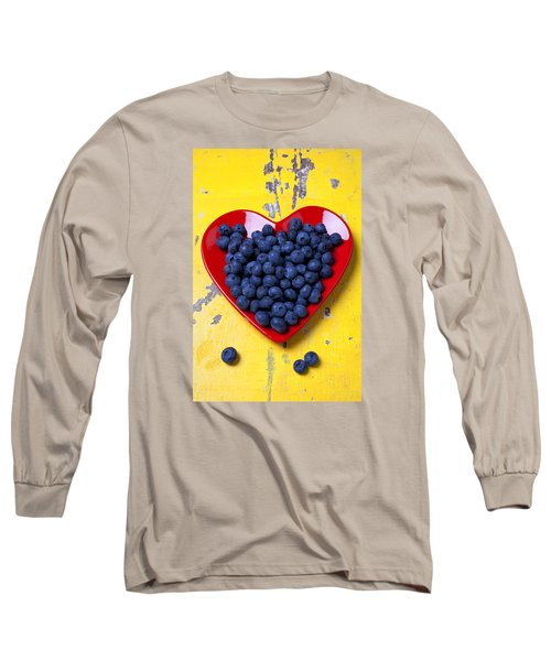 Red Heart Plate With Blueberries Long Sleeve T-Shirt by Garry Gay