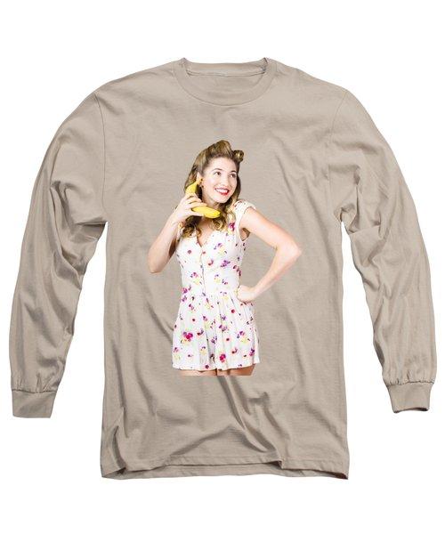 Retro Pin Up Girl Chatting On Banana Telephone Long Sleeve T-Shirt by Jorgo Photography - Wall Art Gallery