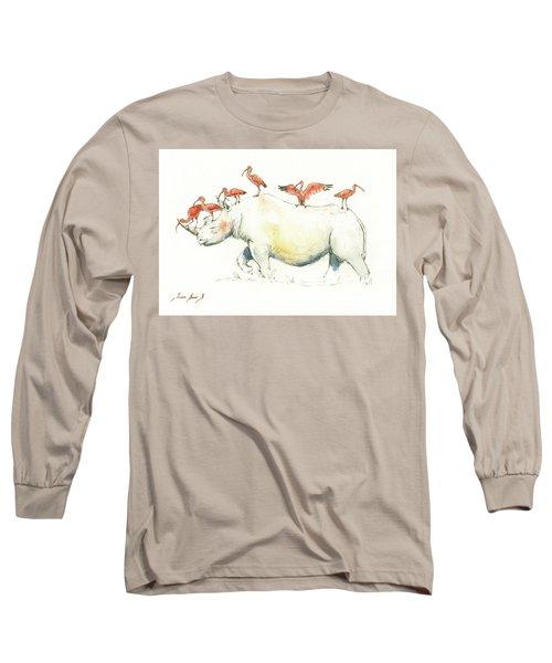 Rhino And Ibis Long Sleeve T-Shirt by Juan Bosco