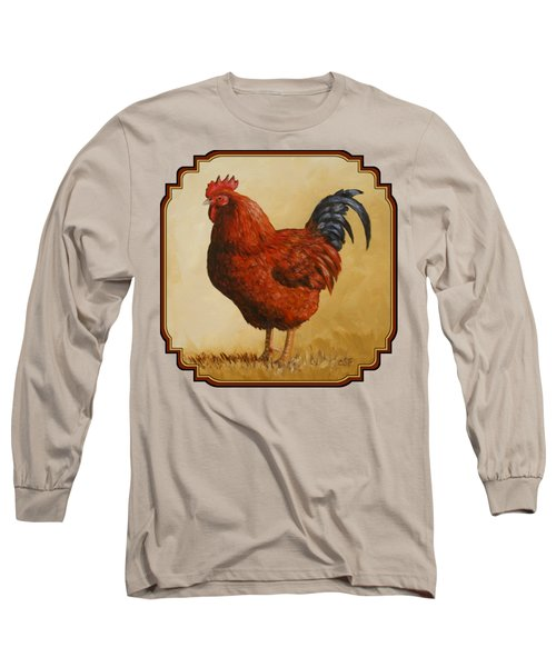 Rhode Island Red Rooster Long Sleeve T-Shirt by Crista Forest