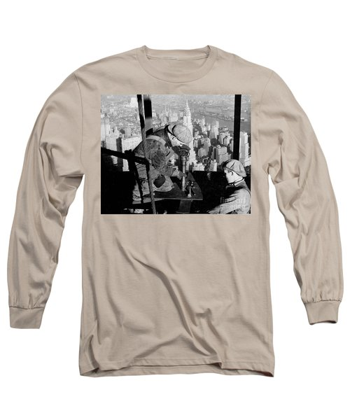 Riveters On The Empire State Building Long Sleeve T-Shirt by LW Hine