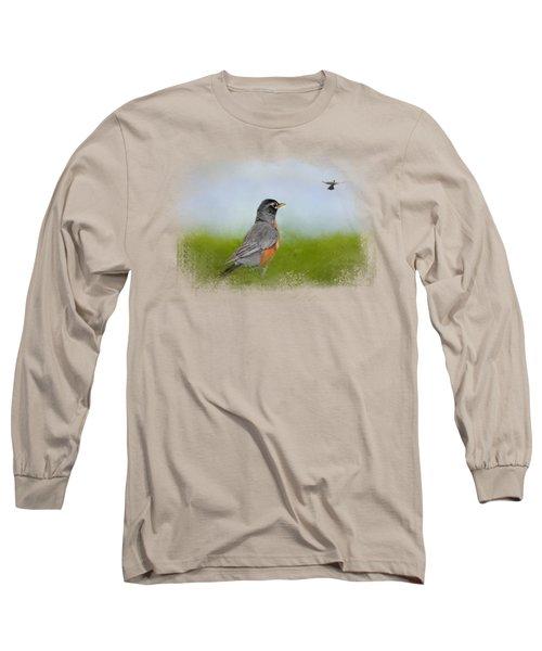 Robin In The Field Long Sleeve T-Shirt by Jai Johnson