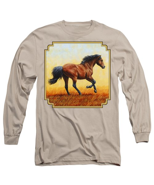Running Horse - Evening Fire Long Sleeve T-Shirt by Crista Forest