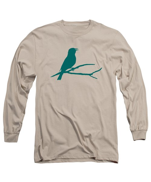 Rustic Green Bird Silhouette Long Sleeve T-Shirt by Christina Rollo