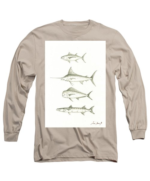 Saltwater Gamefishes Long Sleeve T-Shirt by Juan Bosco