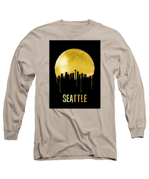 Seattle Skyline Yellow Long Sleeve T-Shirt by Naxart Studio