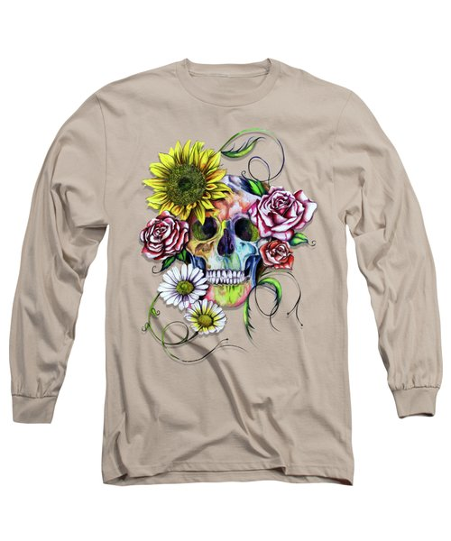Skull And Flowers Long Sleeve T-Shirt by Isabel Salvador