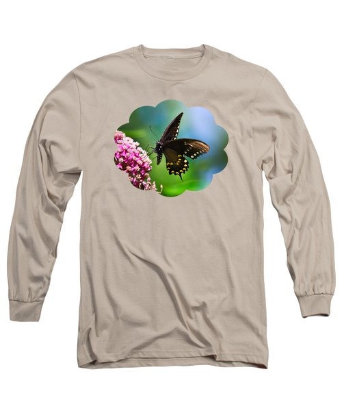 Spicebush Swallowtail Butterfly On Pink Flower Long Sleeve T-Shirt by Christina Rollo