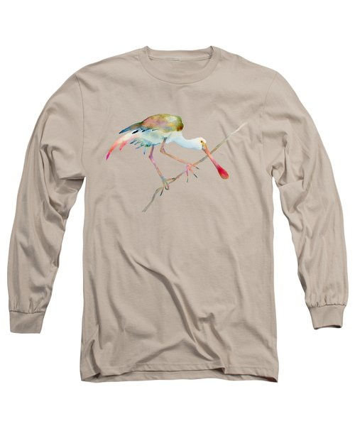 Spoonbill  Long Sleeve T-Shirt by Amy Kirkpatrick