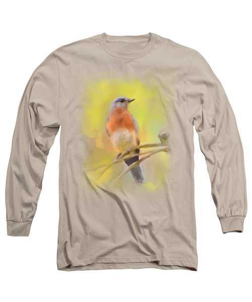 Spring Bluebird Painting Long Sleeve T-Shirt by Jai Johnson