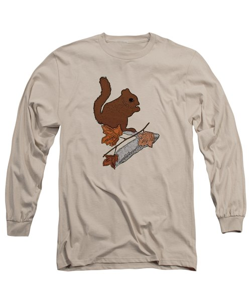 Squirrel Long Sleeve T-Shirt by Priscilla Wolfe