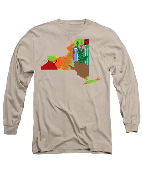 State Of New York Official Map Symbols Long Sleeve T-Shirt by Jit Lim