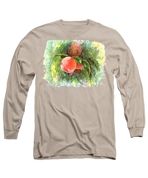 Sunny Peaches Long Sleeve T-Shirt by Irina Viatkina