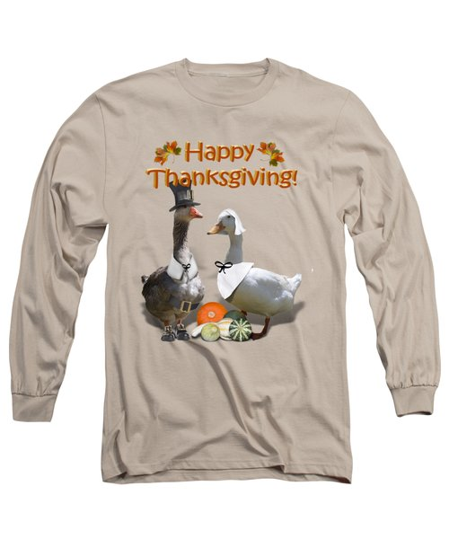 Thanksgiving Pilgrim Ducks Long Sleeve T-Shirt by Gravityx9 Designs