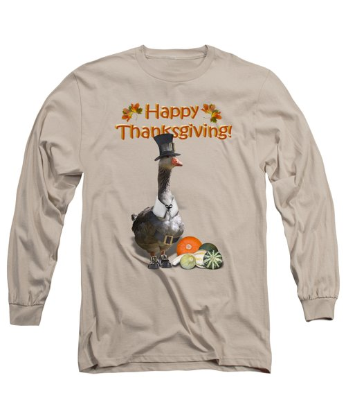 Thanksgiving Pilgrim Goose Long Sleeve T-Shirt by Gravityx9  Designs
