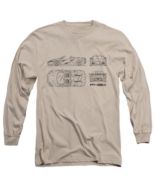 The F430 Blueprint - White Long Sleeve T-Shirt by Mark Rogan