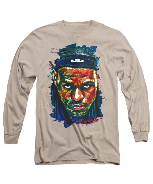 The Lebron Death Stare Long Sleeve T-Shirt by Maria Arango