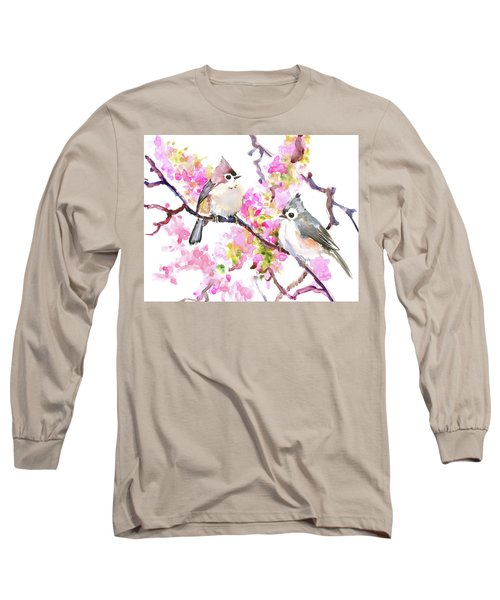 Titmice And Cheery Blossom Long Sleeve T-Shirt by Suren Nersisyan