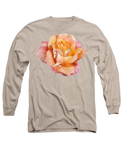 Unicorn Rose Long Sleeve T-Shirt by Carol Cavalaris