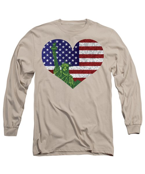 Usa Heart Flag And Statue Of Liberty Long Sleeve T-Shirt by Jit Lim