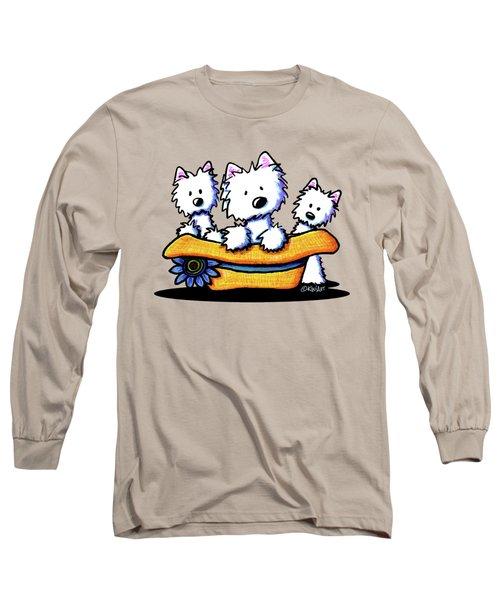 Westie Hat Trio Long Sleeve T-Shirt by Kim Niles