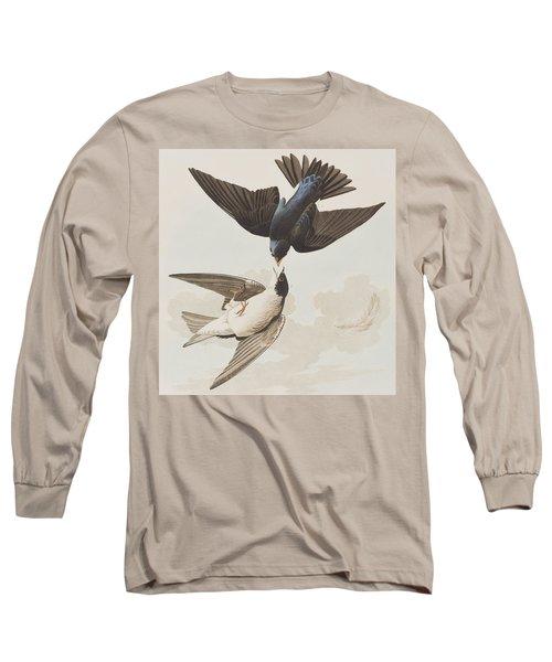 White-bellied Swallow Long Sleeve T-Shirt by John James Audubon