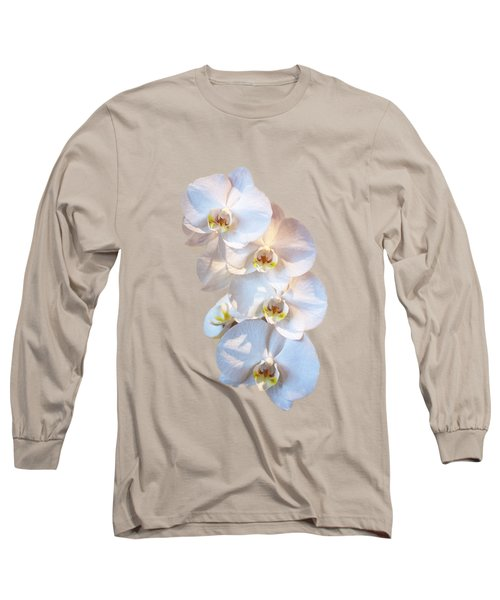 White Orchid Cutout Long Sleeve T-Shirt by Linda Phelps