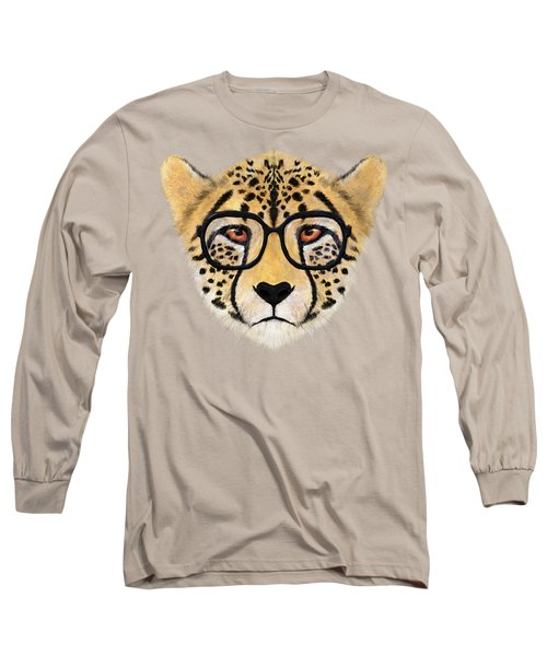 Wild Cheetah With Glasses  Long Sleeve T-Shirt by David Ardil