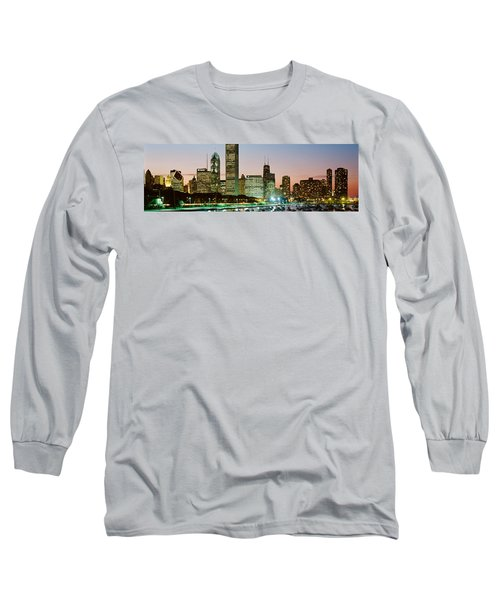 Buildings Lit Up At Night, Chicago Long Sleeve T-Shirt by Panoramic Images