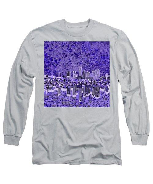 Austin Texas Skyline 4 Long Sleeve T-Shirt by Bekim Art