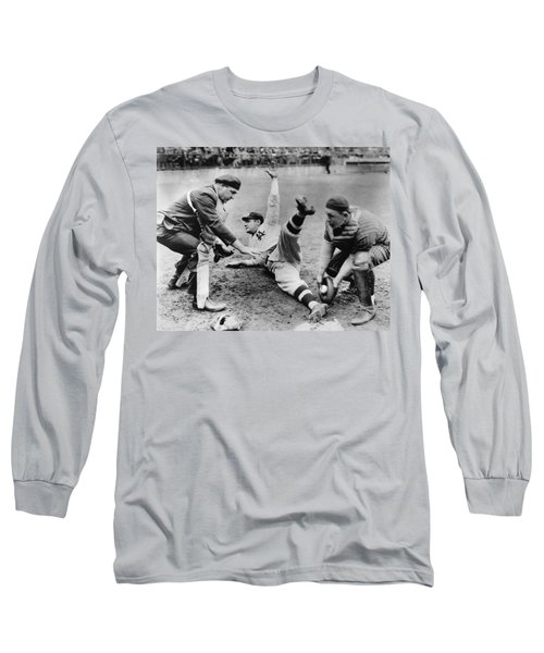 Babe Ruth Slides Home Long Sleeve T-Shirt by Underwood Archives