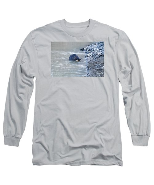 Beaver Chews On Stick Long Sleeve T-Shirt by Chris Flees