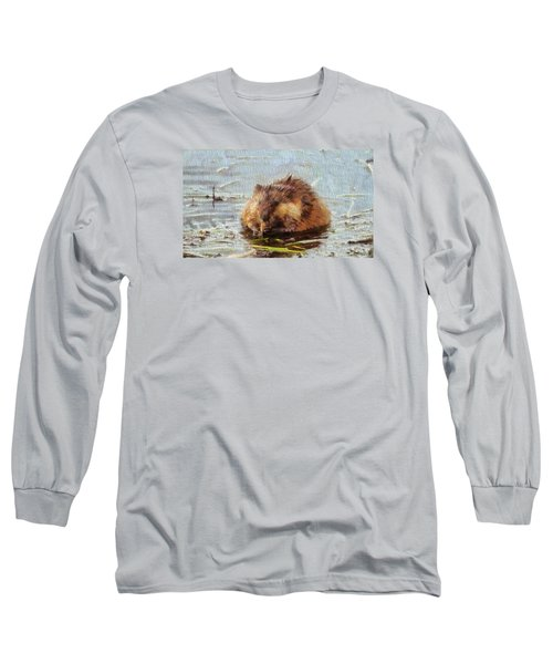 Beaver Portrait On Canvas Long Sleeve T-Shirt by Dan Sproul