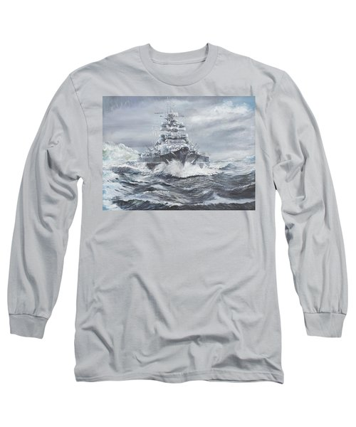 Bismarck Off Greenland Coast  Long Sleeve T-Shirt by Vincent Alexander Booth