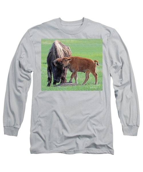 Long Sleeve T-Shirt featuring the photograph Bison With Young Calf by Bill Gabbert