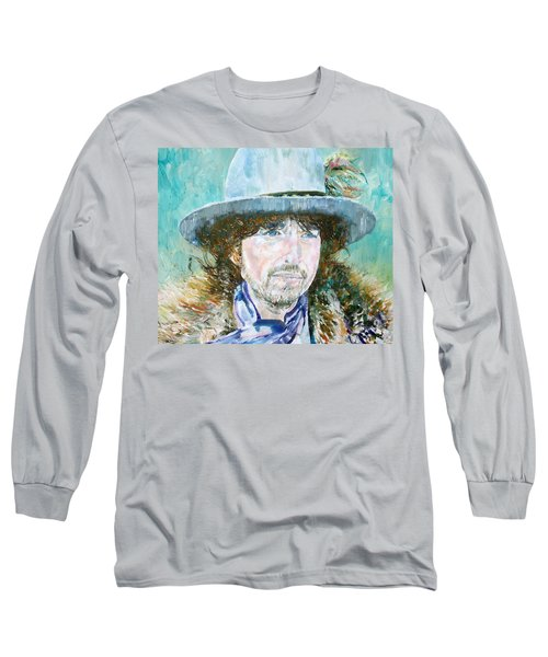 Bob Dylan Oil Portrait Long Sleeve T-Shirt by Fabrizio Cassetta