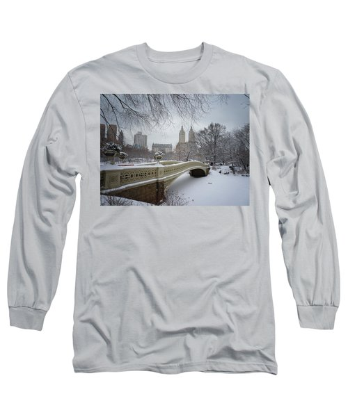 Bow Bridge Central Park In Winter  Long Sleeve T-Shirt by Vivienne Gucwa