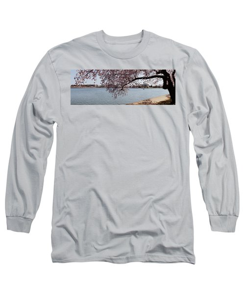 Cherry Blossom Trees With The Jefferson Long Sleeve T-Shirt by Panoramic Images