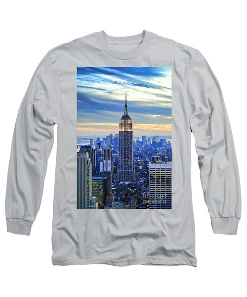 Empire State Building New York City Usa Long Sleeve T-Shirt by Sabine Jacobs