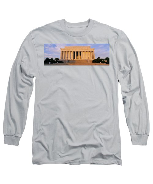 Facade Of A Memorial Building, Lincoln Long Sleeve T-Shirt by Panoramic Images