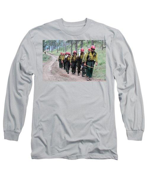 Long Sleeve T-Shirt featuring the photograph Fire Crew Walks To Their Assignment On Myrtle Fire by Bill Gabbert