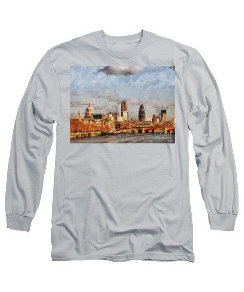 London Skyline From The River  Long Sleeve T-Shirt by Pixel Chimp