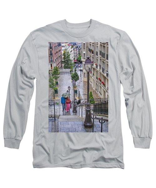 Paris Sous La Pluie Long Sleeve T-Shirt by Nikolyn McDonald