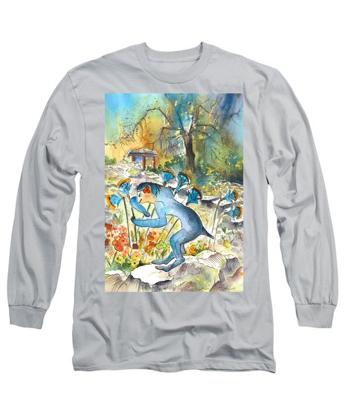 The Minotaur In Knossos Long Sleeve T-Shirt by Miki De Goodaboom