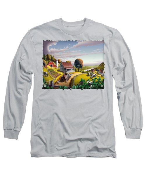 Appalachian Blackberry Patch Rustic Country Farm Folk Art Landscape - Rural Americana - Peaceful Long Sleeve T-Shirt by Walt Curlee