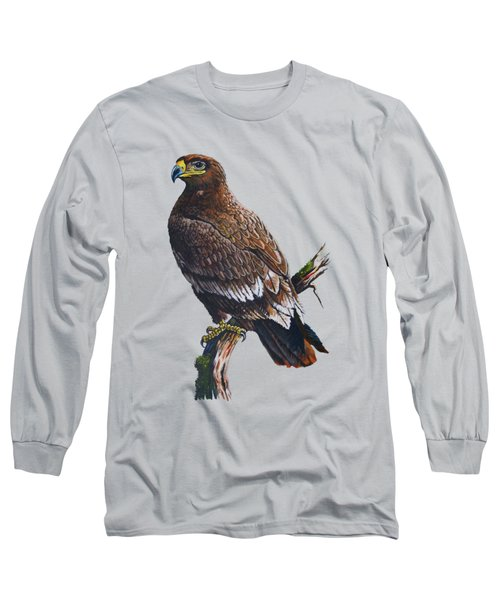 Steppe-eagle Long Sleeve T-Shirt by Anthony Mwangi