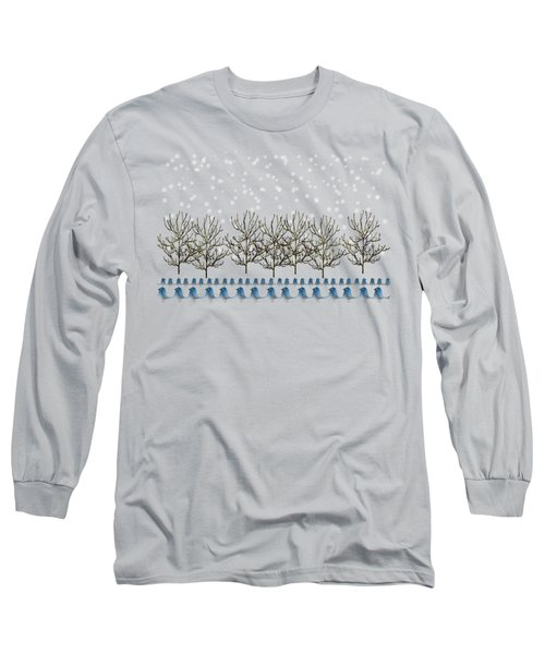 Winter Bluebirds In The Snow Long Sleeve T-Shirt by Anne Kitzman