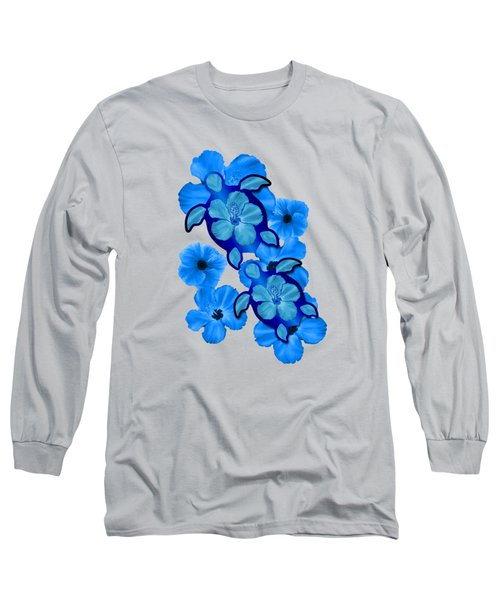 Blue Hibiscus And Honu Turtles Long Sleeve T-Shirt by Chris MacDonald